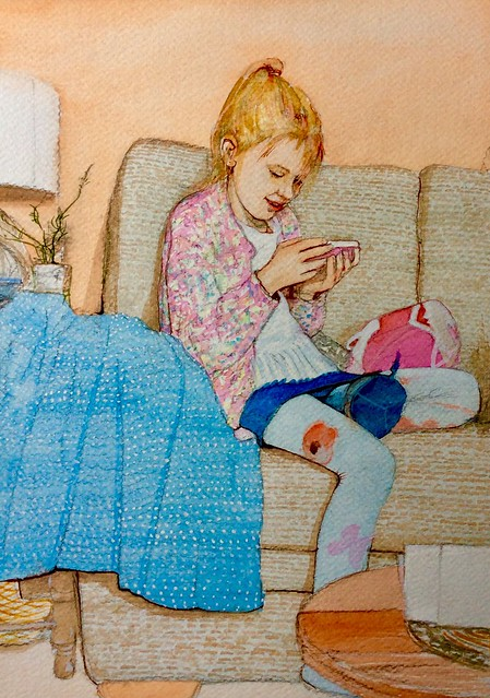 The granddaughter on her mobile phone. Watercolour painting by jmsw. Last stage of 4.