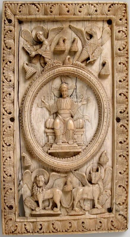 89 Спас Эммануил на престоле с символами Евангелистов. Германия. Фульда. XI в