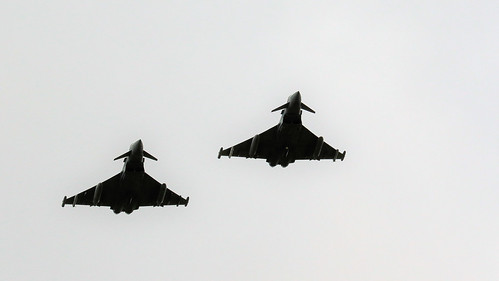 PAIR TYPHOONS FLYPAST CONINGSBY