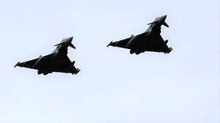 PAIR OF TYPHOONS FLYPAST CONINGSBY