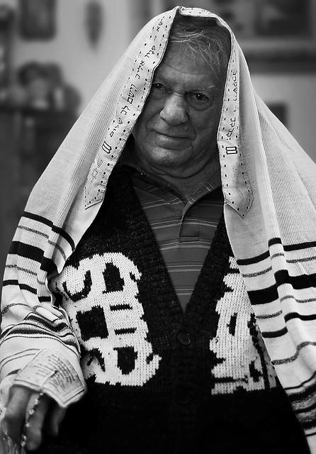 Dad Wearing the Jewish Prayer Shawl