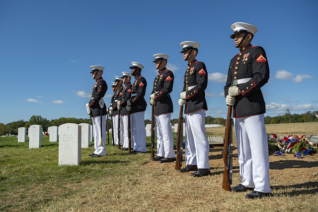 Military Funeral Honors With Funeral Escort are Conducted for U.S. Marine Corps Reserve Pvt. Ted Hall in Section 57