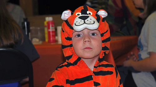 A boy in tiger costume.