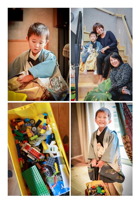 七五三詣りの後、自宅でリラックスして遊ぶ男の子