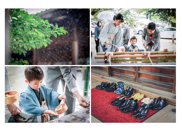 雨の日の七五三参り 神社の手水舎で手を浄める