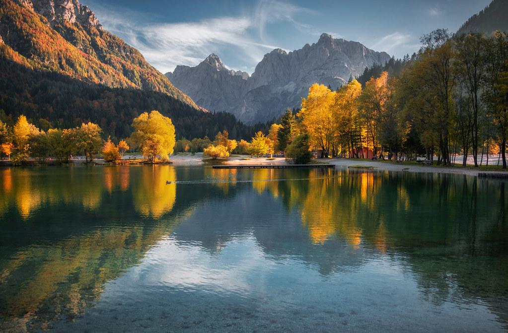 Lake Jasna on a beautiful autumn evening
