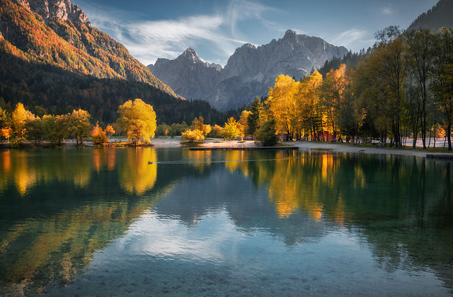 Lake Jasna on a beautiful autumn evening