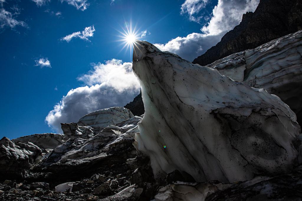 Blocks of fallen ice from Sexton Glacier block the sun.