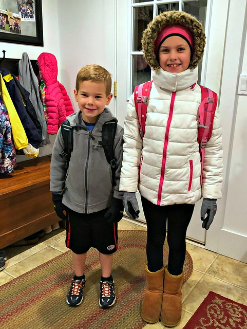 children dressed in winter gear