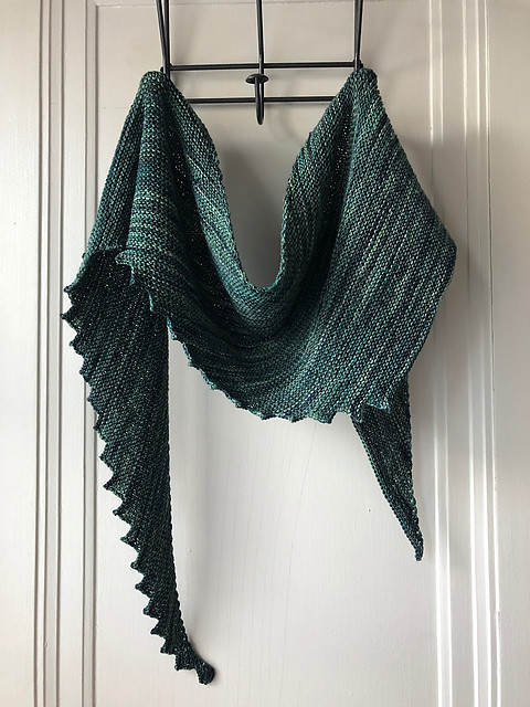 Lise (Mattedcat)'s latest Hitchhiker by Martina Behm knit using Malabrigo Sock in Aguas colourway