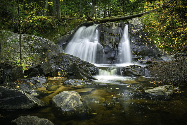 Letherby Falls on the West Branch of the Huron River in western Baraga County, Michigan