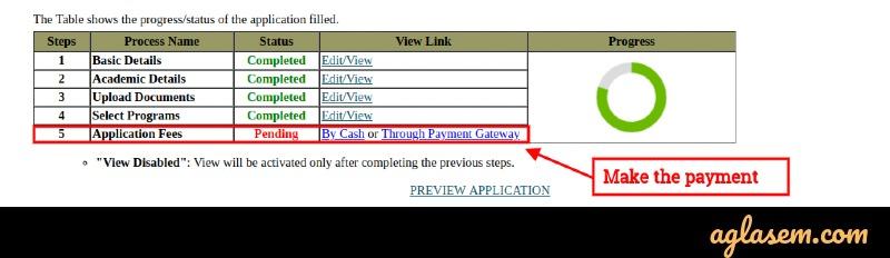 Tissnet application fee payment