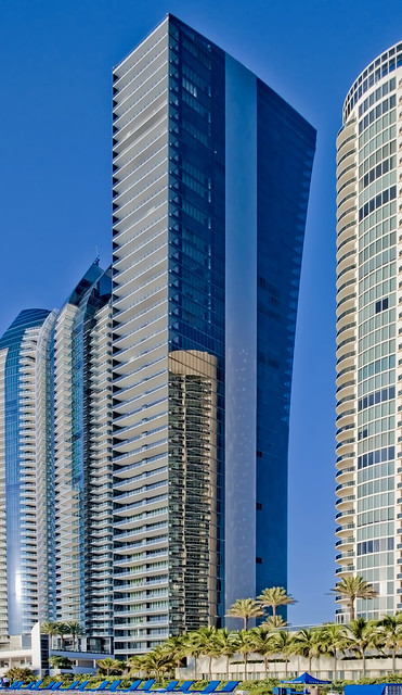 Muse, 17141 Collins Avenue, Sunny Isles Beach, Florida, USA / Completed: 2018 / Height: 649 ft (198 m) / Floor count: 47 / Architects: Carlos A. Ott & Sieger Suarez Architectural Partnership, Inc. / Sculptures by: Heidon Xhixha