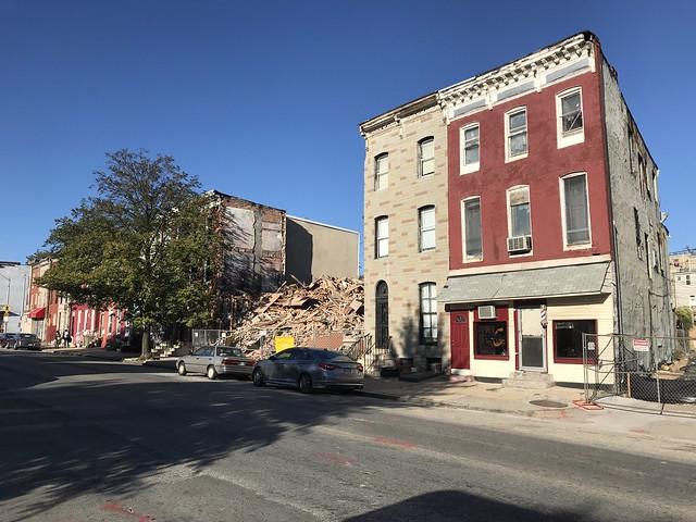 Building debris following rowhouse demolition, 1107-1111 Greenmount Avenue, Baltimore, MD 21202