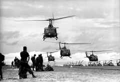 Vietnam War 1966 - Australians troops of the First Battalion prepare to board U.S. helicopters at Bien Hoa Airbase