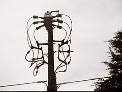 Power lines pole