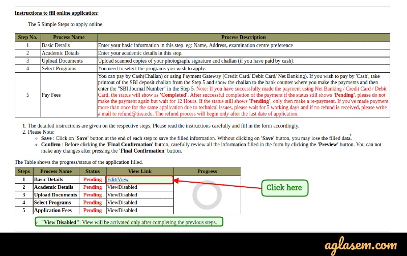 Tissnet application form