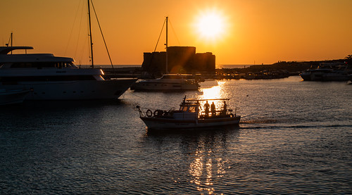 cyprus paphos harbour sunset sky sea boats fishermen