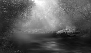 River Scene with Fog and Light