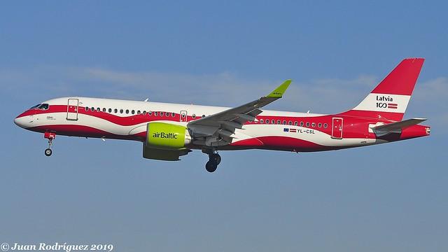 YL-CSL - Air Baltic - Airbus A220-300 - PMI/LEPA