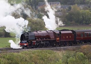 LMS 4-6-2 Duchess of Sutherland locomotive at Harringworth 19th Oct. 2019