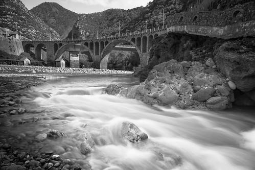 river bridge landscape blackandwhite longexposure water