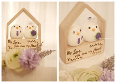 Custom birds bride and groom with wooden house  wedding cake topper, ceremony decoration