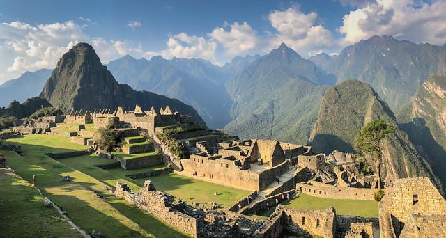 Panorama view of Inca Citadel Machu Picchu Peru