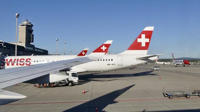 ZRH Zurich Airport Switzerland busy Gate A