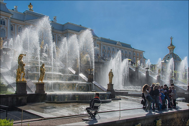 water games in the gardens of the imperial palace of Peterhof...