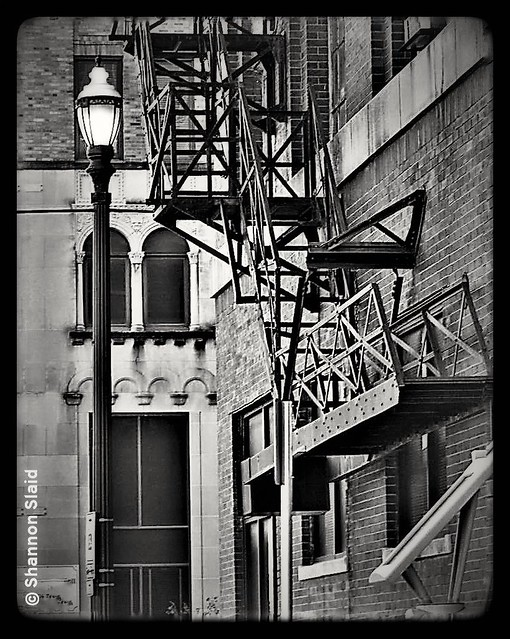 Downtown Houston Fire Escape  (B&W)