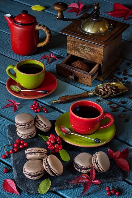 Coffee and Homemade Chocolate Macarons.