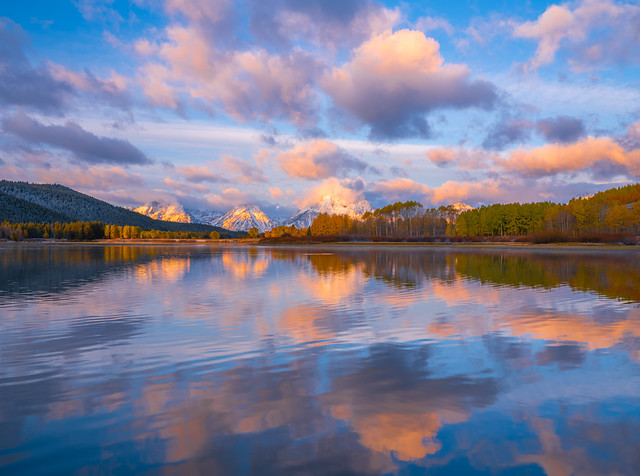 Oxbow Bend Sunrise: Grand Teton National Park Autumn Colors & Snow Fuji GFX 100! Fall Foliage Wyoming Aspens Elliot McGucken Fuji GFX100 Fine Art Landscape & Nature Photography! FUJIFILM FUJINON GF LM OIS WR Lens dx4/dt=ic