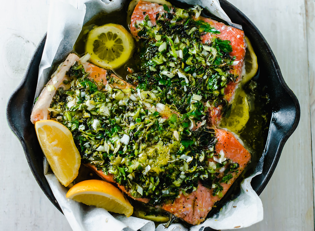Citrus Herb Roasted Salmon with fresh flavors of lemon juice, white wine and rich olive oil.