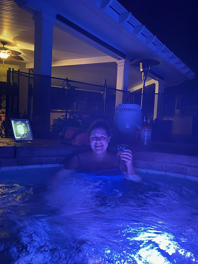 Enjoying my first postpartum hot tub time