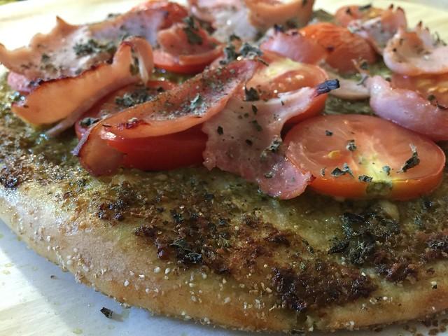 Basil Pesto Tomato Pizza