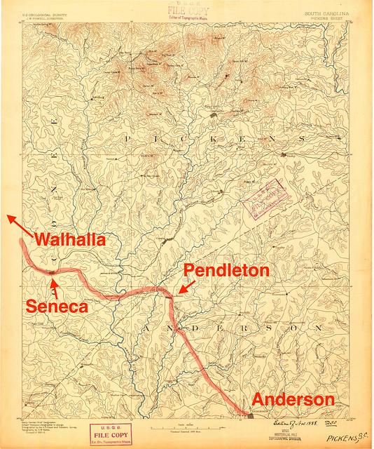 Pickens, SC, 1:125,000 quad, 1888, USGS