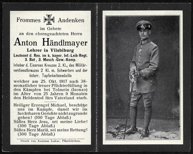Archiv T996 Sterbebild (front), Anton Händlmayer, WWI, 1914-1918