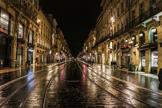A rainy night in  Bordeaux