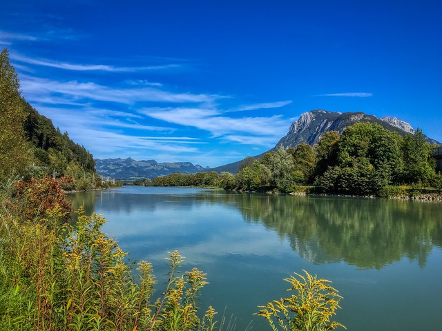 River Inn and Zahmer Kaiser mountains near Kufstein, Tyrol, Austria