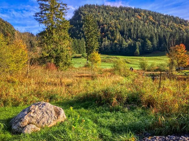 Mühlau landscape with rock near Kiefersfelden, Bavaria, Germany