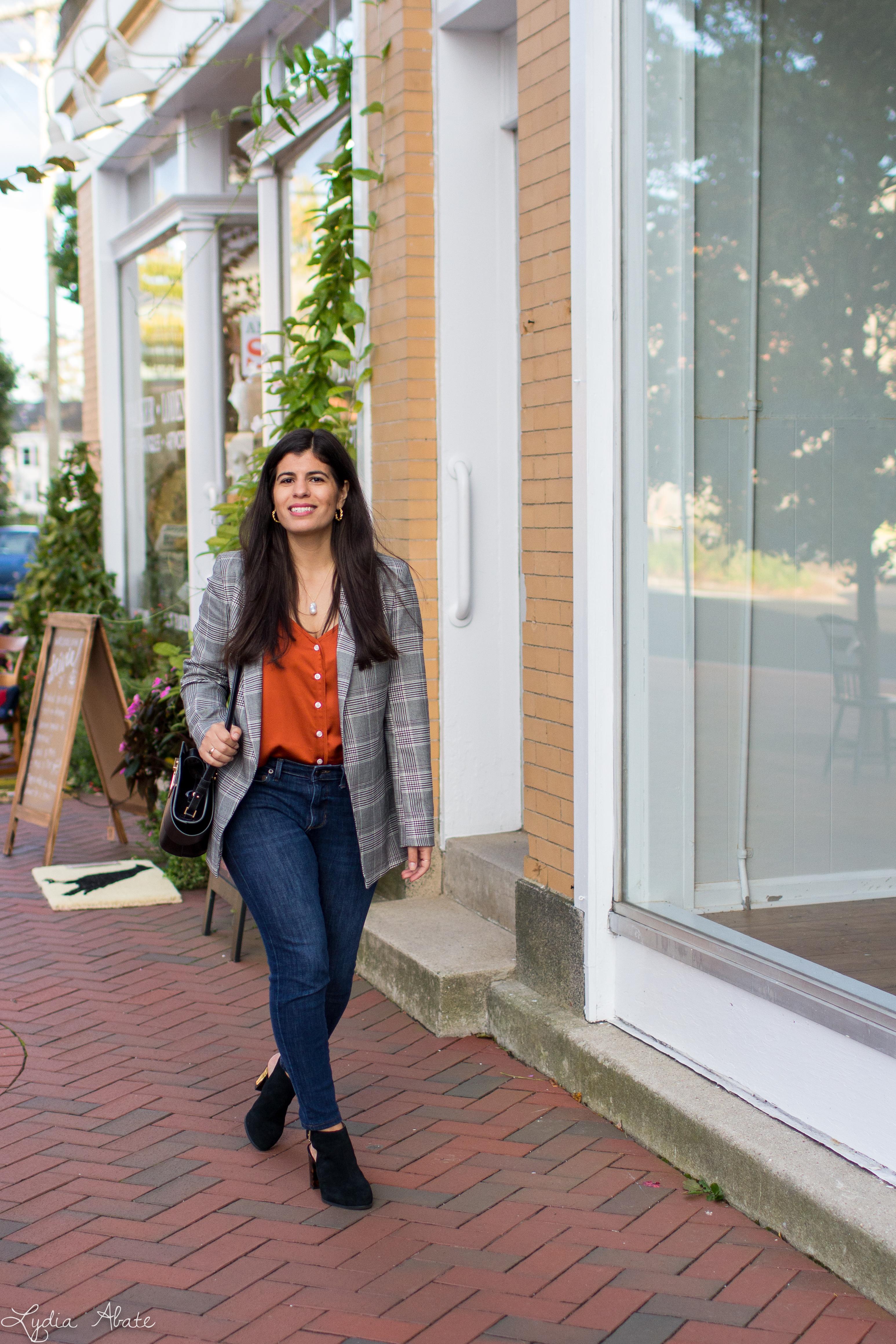 plaid blazer, rust camisole, jeans, vionic booties, danse lente bag-11.jpg