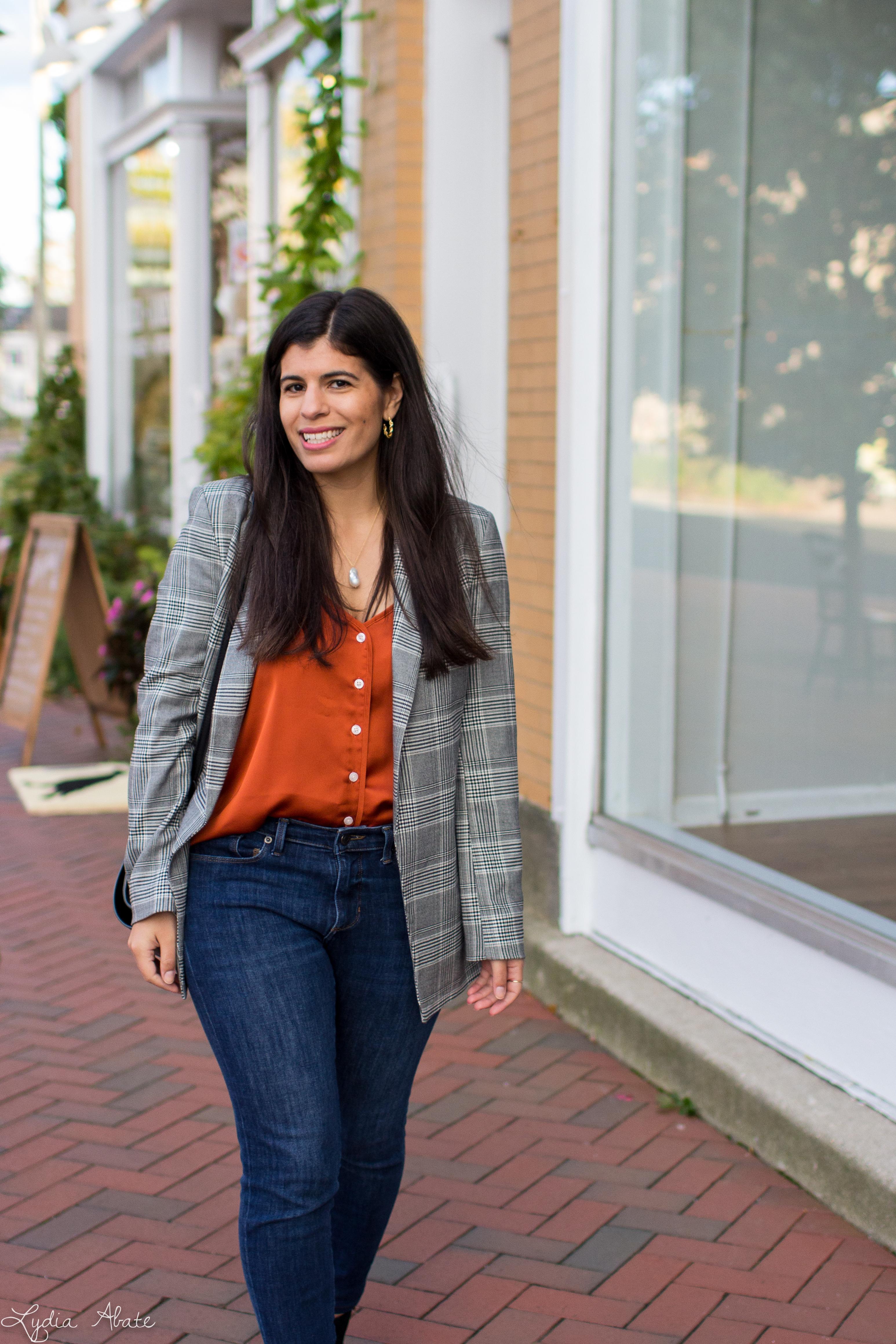 plaid blazer, rust camisole, jeans, vionic booties, danse lente bag-12.jpg