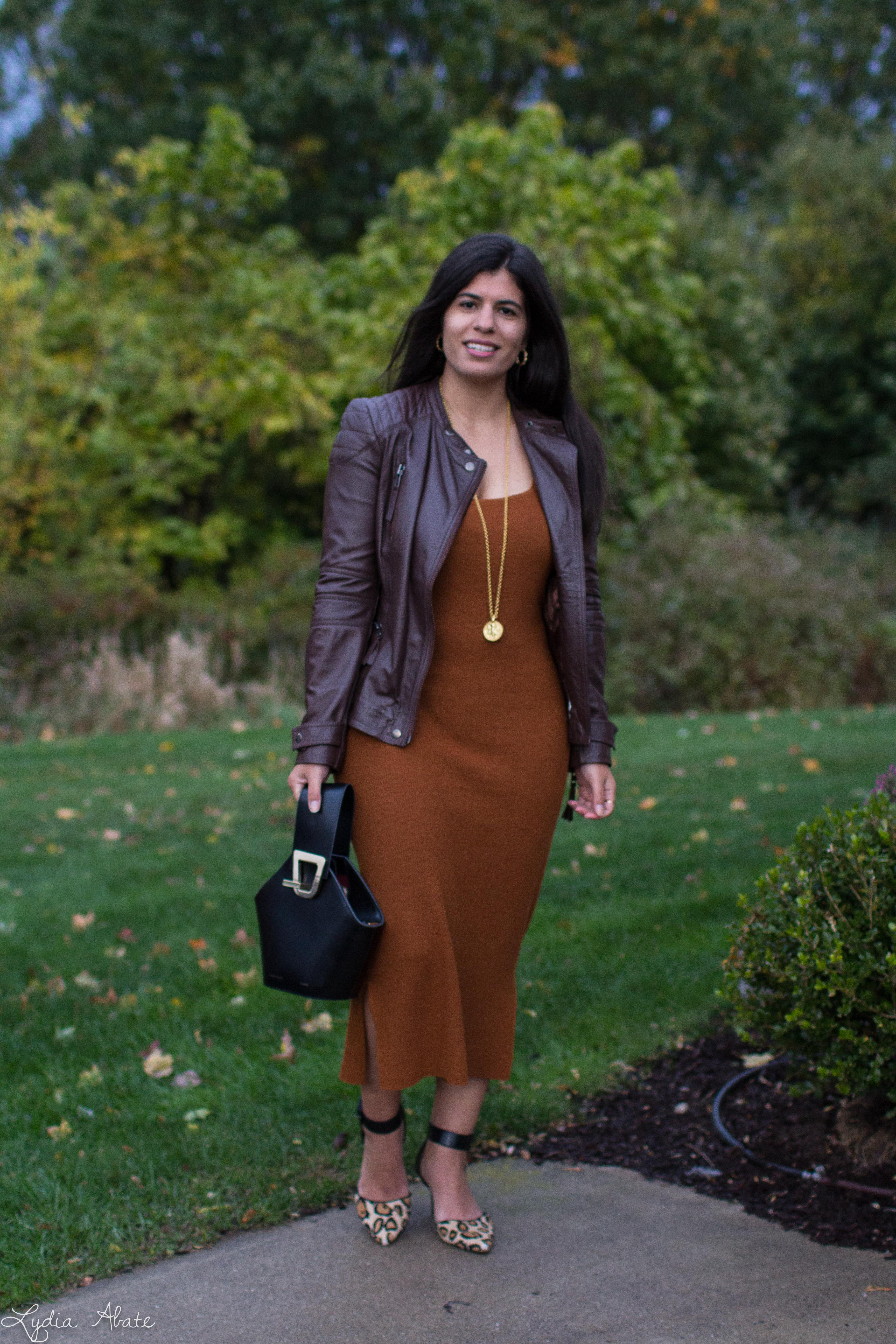 rust knit dress, brown leather jacket leopard pumps, danse lente bag-3.jpg
