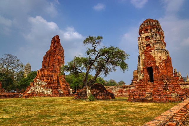 Temple ruins of Wat Mahathat in Ayutthaya, Thailand