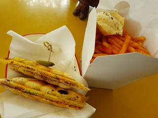Katsu Curry Jaffle with Fries at Fitz & Potts