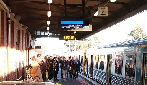 """Burn line"" hiding the train destination - passenger information display at Caulfield"