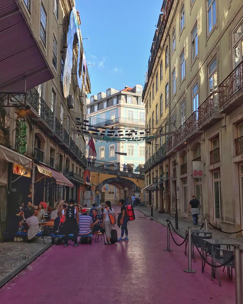 Pink street in Lisbon