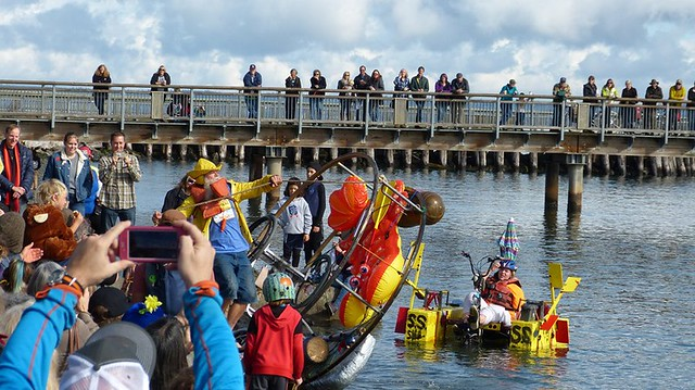 Port Townsend Kinetic Sculpture Race Lobster Pot Family Excursion Module  exit step 3