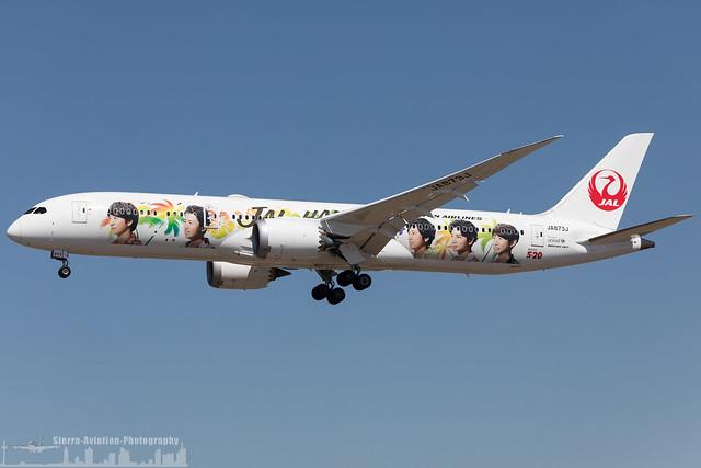 JA873J Japan Airlines Boeing 787-9 Dreamliner painted in 'Arashi Hawaii Jet' special colours (KLAX - LAX - Los Angeles)